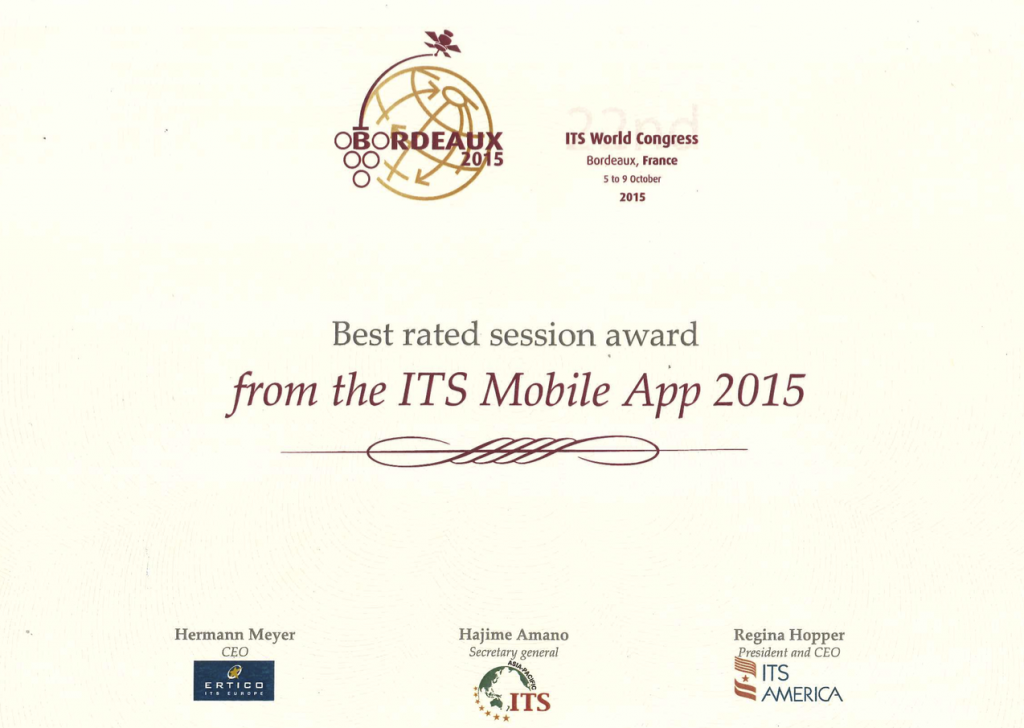 Best rated session award at ITS World Congress 2015 in Bordeaux.